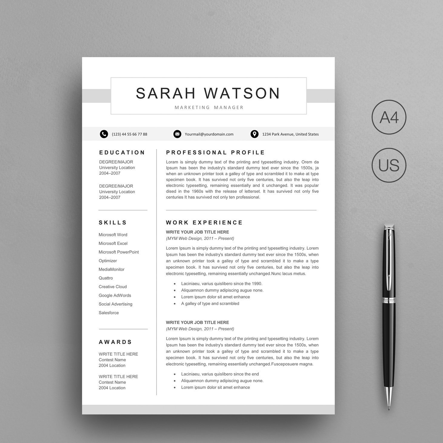 Modern Resume Template Instant Download Graphic Worker Exclusive Resume Cv Google Docs Template