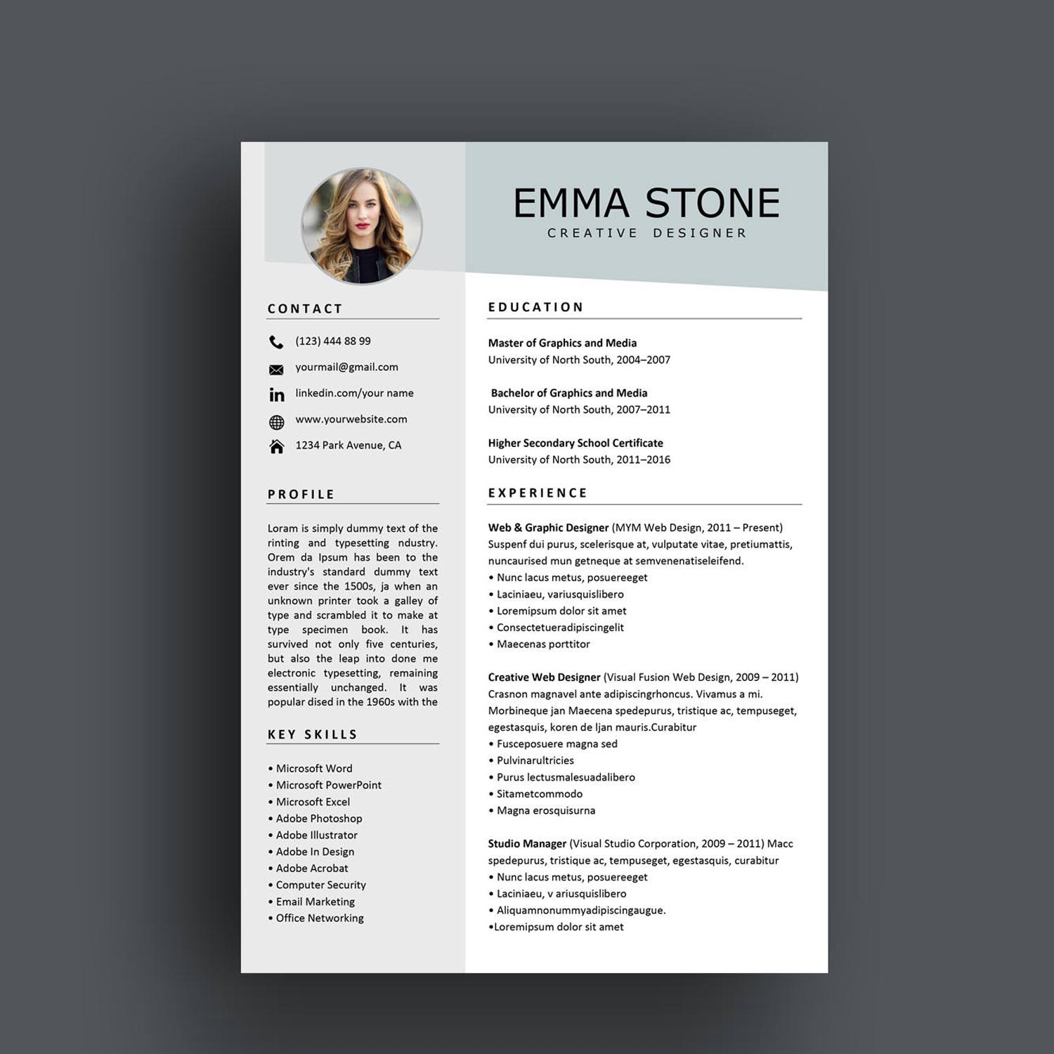 resume template for ms word and pages version
