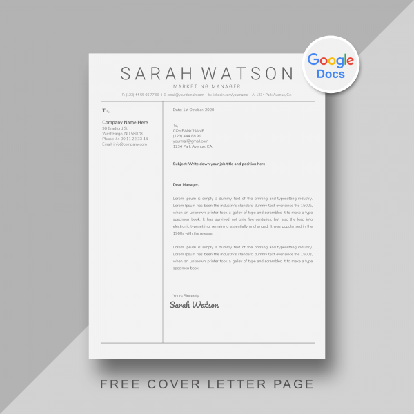 Google Docs Cover letter Template