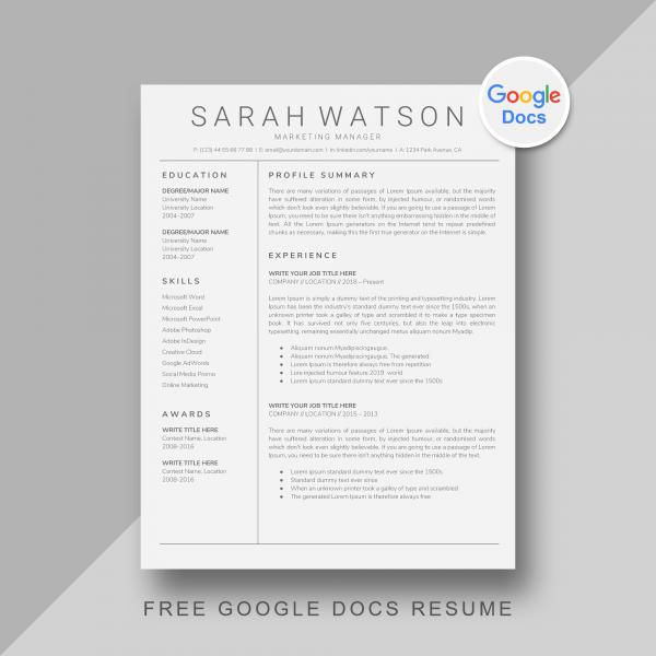 Free Google Docs Resume Template