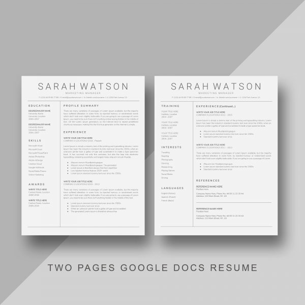 Free Two Pages Google Docs Resume Template